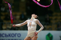 "Delphine Ledoux of France waves with ribbon at 2008 World Cup Kiev, ""Deriugina Cup"" in Kiev, Ukraine on March 22, 2008."