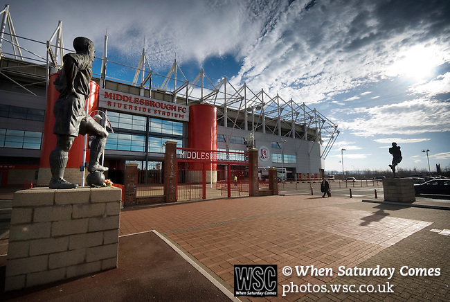 Middlesbrough 0 Wigan Athletic 0, 21/02/2009. The Riverside Stadium, Middlesbrough. Premier League. Photo by Paul Thompson. A view of the George Hardwick statue outside the Riverside Stadium. Hardwick was Captain of Middlesbrough and England in the 1940s.