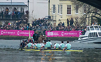 Greater London. United Kingdom, Cambridge Men's  University Boat Club, celebrate on the water with the coaches, after winning the 2018 Varsity Boat race  Cambridge University vs Oxford University Putney to Mortlake,  Championship Course, River Thames, London. <br /> <br /> Saturday  24.03.18<br /> <br /> [Mandatory Credit:Peter SPURRIER/Intersport Images]