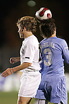 16 November 2007: North Carolina's Zach Loyd (3) wins a header against Wake Forest's Jamie Franks (left). Wake Forest University played the University of North Carolinaat SAS Stadium in Cary, NC in an Atlantic Coast Conference Men's Soccer tournament semifinal.