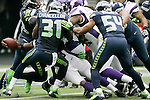 Minnesota Vikings running back Adrian Peterson rushes for a one-yard touchdown against the Seattle Seahawks at CenturyLink Field in Seattle, Washington on  November 4, 2012.   Peterson rushed for 182 yards on 17 carries and scored two touchdowns in their 20-30 loss to the Seahawks   ©2012. Jim Bryant Photo. All Rights Reserved.