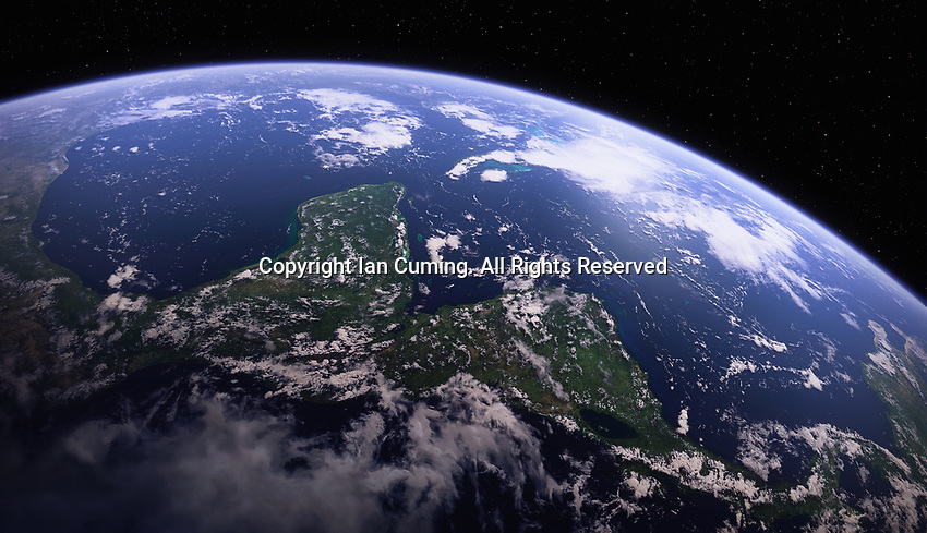 Digitally manipulated image of Yucatan Peninsula and Central America from space