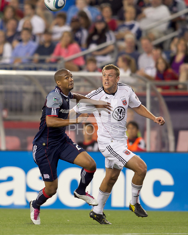 DC United forward Adam Cristman (7) tracking a pass as New England Revolution defender Darrius Barnes (25) defends. The New England Revolution defeated DC United, 1-0, at Gillette Stadium on August 7, 2010.