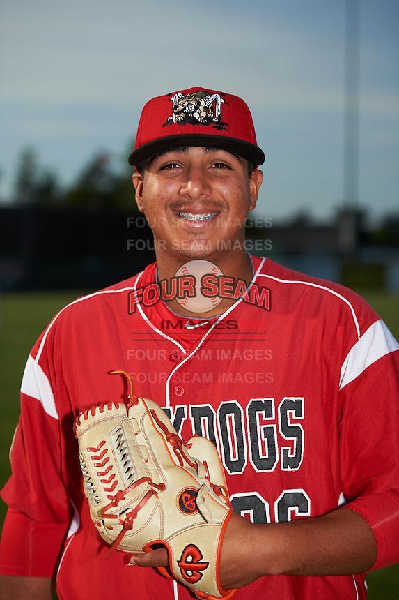 Batavia Muckdogs pitcher Javier Garcia (36) poses for a photo before a game against the Brooklyn Cyclones on July 6, 2016 at Dwyer Stadium in Batavia, New York.  Batavia defeated Brooklyn 15-2.  (Mike Janes/Four Seam Images)