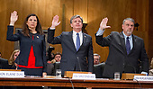 "From left to right: Acting United States Secretary of Homeland Security Elaine C. Duke; Christopher A. Wray<br /> Director, Federal Bureau of Investigation (FBI); and  Nicholas J. Rasmussen, Director, National Counterterrorism Center, Office of the Director of National Intelligence, are sworn-in to testify before the United States Senate Committee Homeland Security and Governmental Affairs on ""Threats to the Homeland"" on Capitol Hill in Washington, DC on Wednesday, September 27, 2017.<br /> Credit: Ron Sachs / CNP"