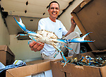 Joe Morotti,of Joe's Seafood in Severna Park, holds up a large live crab he had shipped from Louisiana to sell locally.