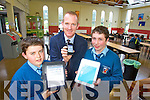 Pictured with the new app at St Michaels College Listowel Deputy Principal Liam Hassett with students Padraig Hunt and Jonathan Curtin.