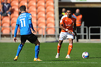 Blackpool's Demetri Mitchell under pressure from Swindon Town's Jonny Smith<br /> <br /> Photographer Kevin Barnes/CameraSport<br /> <br /> The EFL Sky Bet League One - Blackpool v Swindon Town - Saturday 19th September 2020 - Bloomfield Road - Blackpool<br /> <br /> World Copyright © 2020 CameraSport. All rights reserved. 43 Linden Ave. Countesthorpe. Leicester. England. LE8 5PG - Tel: +44 (0) 116 277 4147 - admin@camerasport.com - www.camerasport.com