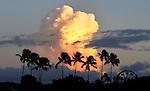 Clouds over Magic Island in Honolulu, Hawaii.