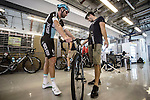 Stijn Vandenbergh and Lukasz Wisniowski Etixx–Quick Step will have live cameras fitted to their bikes during Stage 4, The Yas Stage, of the 2015 Abu Dhabi Tour running 110 km 20 laps around the Yas Marina Circuit, Abu Dhabi. 11th October 2015.<br /> Picture: ANSA/Angelo Carconi | Newsfile