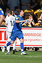 Brett Johnson of Wimbledon celebrates scoring the first goal the first goal during the Blue Square Bet Premier match between Cambridge United and AFC Wimbledon at the Abbey Stadium, Cambridge on 9th April, 2011.© Kevin Coleman 2011.