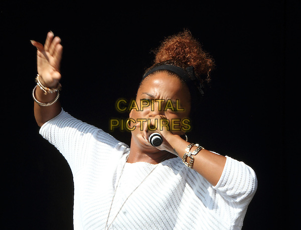 GUILDFORD, UNITED KINGDOM - JULY 19: Ms Dynamite performs on stage at Guilfest at Stoke Park on July 19, 2014 in Guildford, United Kingdom<br /> CAP/ROS<br /> &copy;Steve Ross/Capital Pictures