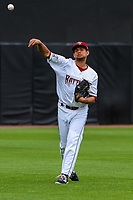 Wisconsin Timber Rattlers pitcher Victor Diaz (34) warms up prior to game one of a Midwest League doubleheader against the Kane County Cougars on June 23, 2017 at Fox Cities Stadium in Appleton, Wisconsin.  Kane County defeated Wisconsin 4-3. (Brad Krause/Four Seam Images)