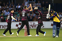 Craig Overton of Somerset celebrates with his team mates after taking the wicket of Tom Westley during Essex Eagles vs Somerset, Vitality Blast T20 Cricket at The Cloudfm County Ground on 7th August 2019