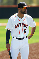 Buies Creek Astros outfielder Jason Martin (6) before a game against the Winston-Salem Dash at Jim Perry Stadium on the campus of Campbell University on April 9, 2017 in Buies Creek, North Carolina. Buies Creek defeated Winston-Salem 2-0. (Robert Gurganus/Four Seam Images)