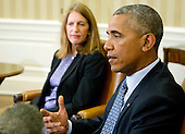 United States President Barack Obama makes remarks to the media after receiving a briefing on the ongoing response to the Zika virus crisis from members of his public health team in the Oval Office of the White House in Washington, DC on Friday, July 1, 2016. US Secretary of Health and Human Services Sylvia Mathews Burwell looks on from left.  In his remarks, the President called on Congress to pass the funding bill to fight the virus before adjourning for the summer in two weeks.<br /> Credit: Ron Sachs / Pool via CNP