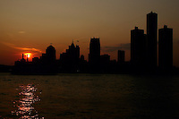 Detroit Skyline at dusk, seen from Windsor, just across the river.<br />