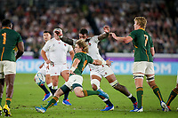 1st November 2019, Yokohama, Japan;  Faf de Klerk of South Africa and Courtney Lawes of England during the 2019 Rugby World Cup final match between England and South Africa at International Stadium Yokohama in Kanagawa, Japan on November 2, 2019.