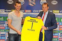 VOETBAL: HEERENVEEN: Abe Lenstra Stadion 11-07-2015, Erwin Mulder nieuwe keeper SC Heerenveen en voorzitter Jelco van der Wiel, ©foto Martin de Jong