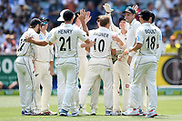 27th December 2019; Melbourne Cricket Ground, Melbourne, Victoria, Australia; International Test Cricket, Australia versus New Zealand, Test 2, Day 2; New Zealand players celebrate the wicket of Steve Smith of Australia - Editorial Use