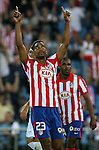 Atletico de Madrid's Cleber Santana celebrates goal during La Liga match. September 24 2009. .(ALTERPHOTOS/Acero).