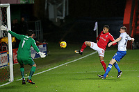 Karlan Ahearne-Grant of Charlton kicks the ball just wide of the Portsmouth goal during Charlton Athletic vs Portsmouth, Checkatrade Trophy Football at The Valley on 7th November 2017