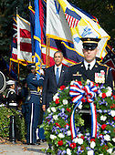 United States President Barack Obama arrives to lay a wreath at the Tomb of the Unknown Soldier at Arlington National Cemetery in Arlington, Virginia on Veteran's Day, Friday, November 11, 2016.<br /> Credit: Ron Sachs / Pool via CNP