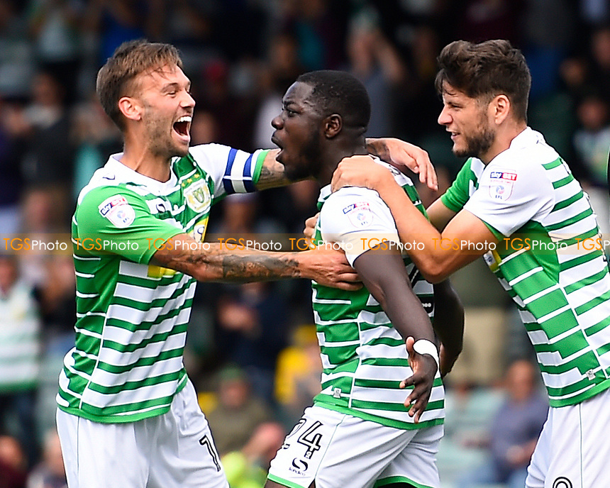 Olufela Olomola of Yeovil Town middle celebrates after scoring his first goal during Yeovil Town vs Accrington Stanley, Sky Bet EFL League 2 Football at Huish Park on 12th August 2017