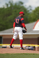 Batavia Muckdogs starting pitcher Manuel Rodriguez (47) looks in for the sign during a game against the West Virginia Black Bears on June 25, 2017 at Dwyer Stadium in Batavia, New York.  Batavia defeated West Virginia 4-1 in nine innings of a scheduled seven inning game.  (Mike Janes/Four Seam Images)
