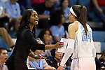 05 January 2014: UNC assistant coach Ivory Latta (left) talks to Jessica Washington (24). The University of North Carolina Tar Heels played the University of Maryland Terrapins in an NCAA Division I women's basketball game at Carmichael Arena in Chapel Hill, North Carolina. Maryland won the game 79-70.