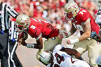 September 03, 2011:  Florida State Seminoles quarterback EJ Manuel (3) dives for yardage during 1st half action between the Florida State Seminoles and the Louisiana Monroe Warhawks at Doak S. Campbell Stadium in Tallahassee, Florida.
