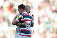 Freddie Burns of Leicester Tigers and Tom Homer of Bath Rugby after the final whistle. Aviva Premiership match, between Leicester Tigers and Bath Rugby on September 25, 2016 at Welford Road in Leicester, England. Photo by: Patrick Khachfe / Onside Images