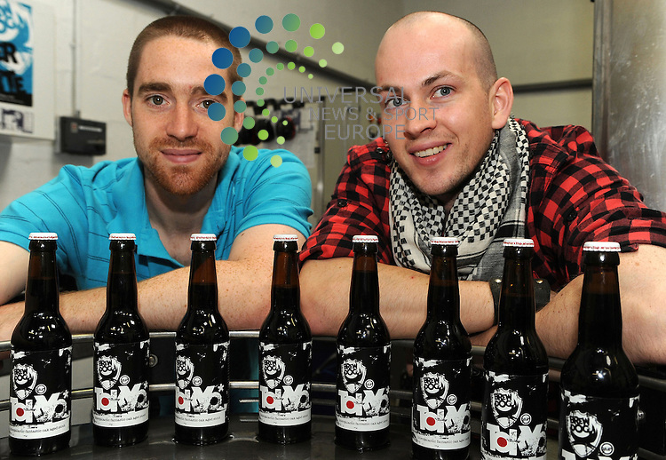 """An 18.2% beer made by a controversial Scottish brewery should not be be sold by bars, clubs and shops across the UK, a watchdog has ruled. The Portman Group said there had been complaints that a message on Fraserburgh-based BrewDog's Tokyo labels encouraged excessive drinking.  It is issuing a retailer alert bulletin and wants the marketing altered. The message says people must, from time to time, have excess, and adds: """"This beer is for those times."""" BrewDog was previously branded irresponsible for Tokyo by Alcohol Focus Scotland.  It then followed it up with a low alcohol beer called Nanny State. BrewDog then made headlines last week after it launched an even stronger beer at 32% called Tactical Nuclear Penguin.  Creators James Watt (R) and martin Dickie..Picture  3 December  2009:  Universal News and Sport (Scotland) .All pictures must be credited to  www.universalnewsandsport.com.(0ffice) 0844 884 51 22."""