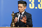 Japanese makeup artist Kazuhiro Tsuji speaks during a news conference for the film Darkest Hour on March 20, 2018, Tokyo, Japan. Tsuji won an award for Best Makeup and Hairstyling at the 90th Academy Awards for his work on The Darkest Hour. The film will be released in Japan on March 30. (Photo by Rodrigo Reyes Marin/AFLO)