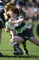 Wallace scrum half Martin Hanna attacks during the Northern Bank Schools Cup Final at Ravenhill. Result Wallace 0pts R.B.A.I. 15pts.