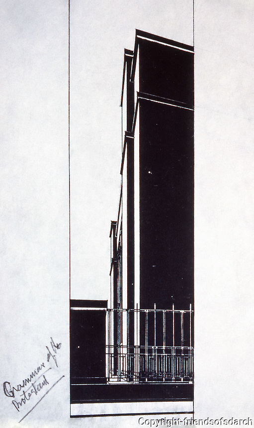 Grammar of the Protestant, Frank Lloyd Wright, 1929. The drawing is a perspective of the Larkin Company Building, in Buffalo, New York, made on tracing paper, with black ink and straight lines. (Photo Dec. 1987).