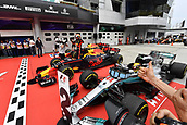 1st October 2017, Sepang, Malaysia;  FIA Formula One World Championship, Grand Prix of Malaysia, 33 Max Verstappen (NLD, Red Bull Racing), 44 Lewis Hamilton (GBR, Mercedes AMG Petronas F1 Team), Sepang Malaysia celebrates in parc ferme