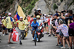 Nairo Quintana (COL) Movistar Team solo attack on the Col du Galibier during Stage 18 of the 2019 Tour de France running 208km from Embrun to Valloire, France. 25th July 2019.<br /> Picture: ASO/Pauline Ballet | Cyclefile<br /> All photos usage must carry mandatory copyright credit (© Cyclefile | ASO/Pauline Ballet)