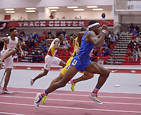 NWA Democrat-Gazette/BEN GOFF @NWABENGOFF<br /> Grant Holloway of Florida runs to victory in the 60 meter hurdles final Friday, Feb. 10, 2017 during the Tyson Invitational at the Randal Tyson Track Complex in Fayetteville.
