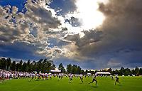 Jul 31, 2009; Flagstaff, AZ, USA; Arizona Cardinals players run a play during training camp on the campus of Northern Arizona University. Mandatory Credit: Mark J. Rebilas-