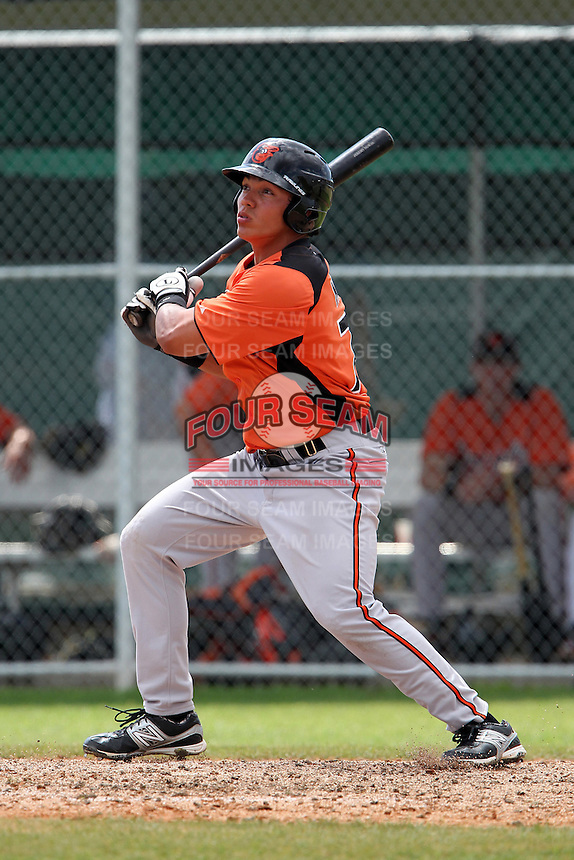 Baltimore Orioles Jeremy Nowak #76 during a spring training game against the Tampa Bay Rays at the Buck O'Neil Complex on March 21, 2012 in Sarasota, Florida.  (Mike Janes/Four Seam Images)
