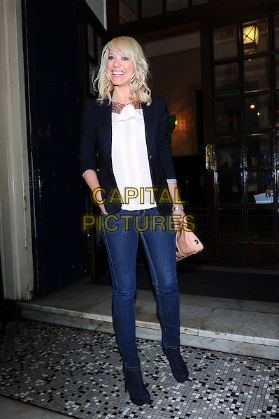 "Liz McClarnon.Attends ""Shrek The Musical"" - first anniversary performance, Theatre Royal Drury Lane, London, England..May 9th, 2012.full length blue blazer white top jeans denim.CAP/CJ.©Chris Joseph/Capital Pictures."