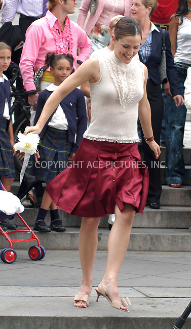 Jennifer Garner was on the set of her new movie '13 going on 30' with co-star Mark Ruffalo and Director Gary Winick in New York City. July 7 2003, New York. Please byline: NY Photo Press.   ..*PAY-PER-USE*      ....NY Photo Press:  ..phone (646) 267-6913;   ..e-mail: info@nyphotopress.com