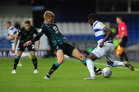 Bright Osayi-Samuel of Queens Park Rangers is tackled by Jay Fulton of Swansea City during the Sky Bet Championship match between Queens Park Rangers and Swansea City at The Kiyan Prince Foundation Stadium in London, England, UK. Wednesday 21, August 2019