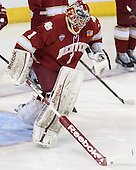 Sam Brittain (DU - 1) - The Boston College Eagles defeated the University of Denver Pioneers 6-2 in their NCAA Northeast Regional semi-final on Saturday, March 29, 2014, at the DCU Center in Worcester, Massachusetts.