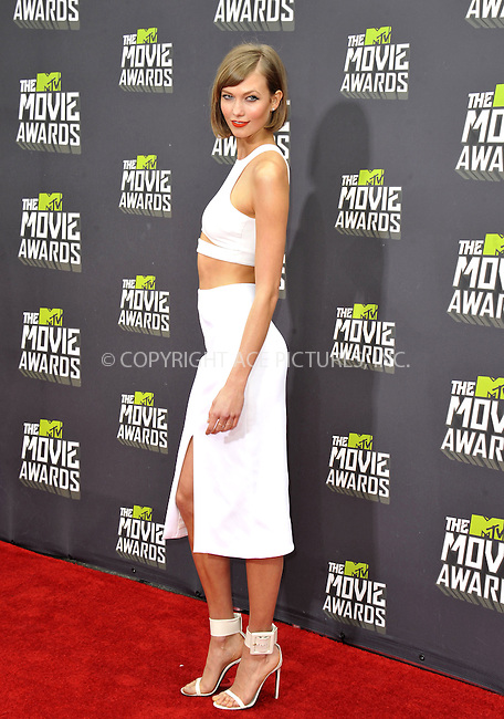 WWW.ACEPIXS.COM....April 14, 2013, Los Angeles, Ca.......Karlie Kloss arriving at the 2013 MTV Movie Awards at Sony Pictures Studios on April 14, 2013 in Culver City, California.......By Line: Peter West/ACE Pictures....ACE Pictures, Inc..Tel: 646 769 0430..Email: info@acepixs.com