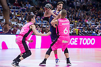 Estudiantes Dario Brizuela and Ludde Hakanson and FC Barcelona Lassa Thomas Heurtel during Liga Endesa match between Estudiantes and FC Barcelona Lassa at Wizink Center in Madrid, Spain. October 22, 2017. (ALTERPHOTOS/Borja B.Hojas) /NortePhoto.com