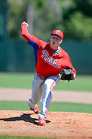 Philadelphia Phillies pitcher Mitch Gueller during a minor league Spring Training game against the New York Yankees at Carpenter Complex on March 21, 2013 in Clearwater, Florida.  (Mike Janes/Four Seam Images)