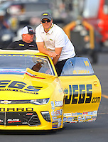 Feb 9, 2017; Pomona, CA, USA; NHRA pro stock driver Jeg Coughlin Jr during qualifying for the Winternationals at Auto Club Raceway at Pomona. Mandatory Credit: Mark J. Rebilas-USA TODAY Sports