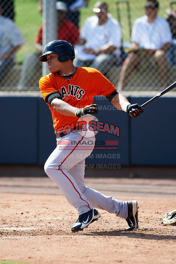 San Francisco Giants minor league outfielder Chuck Jones #63 during an instructional league game against the Colorado Rockies at the Salt River Flats Complex on October 4, 2012 in Scottsdale, Arizona.  (Mike Janes/Four Seam Images)